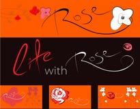 Set Fahnen mit Roseblumen Lizenzfreies Stockfoto