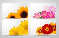 Set Fahnen mit unterschiedlicher bunter Blume Lizenzfreies Stockfoto