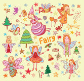 Set of fairies and angels. vector illustration.  Royalty Free Stock Photos