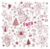 Set of fairies and angels. vector illustration Royalty Free Stock Photo