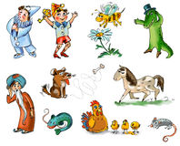 Set of fairy tale characters and animals. Freehand drawing. Childs picture book stock illustration