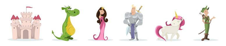 Set of fairy-tale characters isolated on white background. Castle. dragon, princess, knight, unicorn. Vector illustration. stock illustration