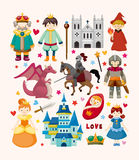 Set of fairy tale element icons royalty free illustration
