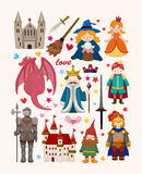 Set of fairy tale element icons Stock Photography