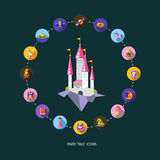 Set of fairy tales flat design magic icons and Stock Photos