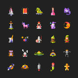 Set of fairy tales flat design magic icons and Stock Images