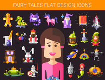 Set of fairy tales flat design magic icons and Stock Photo