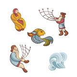 Set of fairytale characters Royalty Free Stock Image