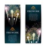 Set fajerwerki, świąteczny pionowo sztandar, petarda wektor Fotografia Royalty Free