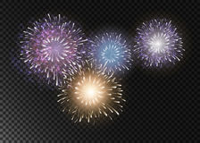 Set fajerwerki na przejrzystym tle Obrazy Royalty Free
