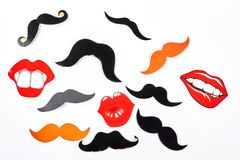 Set of fake moustache and lips. Stock Photo
