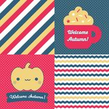 Set of Fall inspired Patterns and posters. Royalty Free Stock Photo
