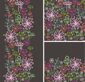 Set of fall plants seamless pattern and borders Royalty Free Stock Image