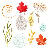 Set of falling leaves. Natural illustration of autumn foliage Stock Photo