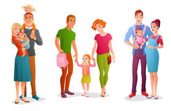Set families with children. Vector illustrations isolated on white background. Set of bright colorful different happy families with children. Cartoon vector Royalty Free Stock Photos
