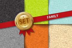 Set of family backgrounds with doodle icons in Royalty Free Stock Photo