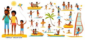 Set of family on the beach. Active travel concept. Cartoon flat style illustration. African american people. Isolated on. Set of family on the beach. Active stock illustration
