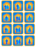 Set of family buttons. Cute set of many positive family buttons royalty free illustration
