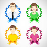 Set of family with colorful ribbon Royalty Free Stock Image