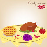Set: family dinner. Turkey, pie, apple, grapes, berries. Royalty Free Stock Image