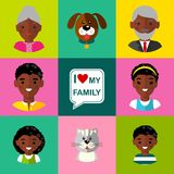 Set of  family  icons grandparents, parents, children, cat, dog Royalty Free Stock Image
