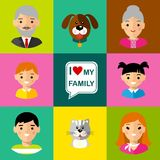 Set of  family  icons grandparents, parents, children, cat, dog Stock Image
