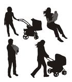 Set of family silhouettes. Stock Photo