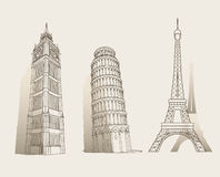 Set of famous landmarks Stock Photos