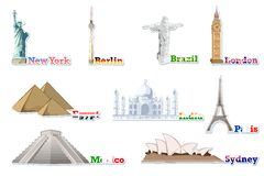 Set of Famous Monument around the World Stock Images