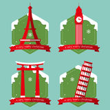 Set of famous world landmark buildings icons with Christmas badge in flat design . Stock Images