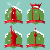 Set of famous world landmark buildings icons with Christmas badge in flat design . Vector Illustration vector illustration