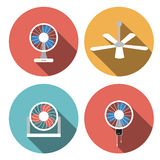 Set of fan icons in flat style, vector object Royalty Free Stock Images