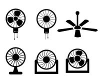 Set of fan icons in silhouette style, vector Stock Image