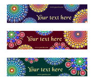 A set fancy designs with circular multicolored dotted ornament graphic elements for banner, header, website, print. Stock Images