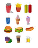 Fast food icons stock illustration
