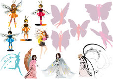Set of fancy flying girls Royalty Free Stock Photo