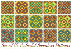 Set of 15 fancy geometric seamless patterns with triangles and squares of red, blue, green, and yellow shades Royalty Free Stock Photos