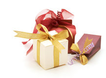 Set of fancy gift boxes. On white background Royalty Free Stock Photos