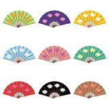 Set with fans. On white background Royalty Free Stock Photos