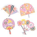 Set of Fans. Cute fans in decorative style, with sweet colors and details Stock Photo