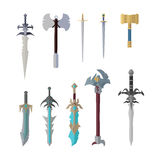 Set of Fantastic Game Weapon Vector Models. Flat design. Fairy cold weapon collection, sword, hummer, ax illustrations for game industry concepts, icons and Royalty Free Stock Photo