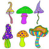 Set of fantastic, psychedelic, decorative mushrooms on a white. Background.Vector hand drawn color illustration.Colored page for adults and children.Design royalty free illustration