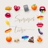 Set of Fantastic Smiley Emoticons Emoji Design Set. Set of Fantastic Summer Time Smiley Emoticons, Emoji Design Set. Bright Icons of Lips. Fire, Hello Expression Royalty Free Stock Images