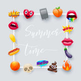 Set of Fantastic Summer Time  Emoticons Emoji. Set of Fantastic Summer Time Smiley Emoticons, Emoji Design Set. Bright Icons of Lips. Fire, Hello Expression Royalty Free Stock Photography
