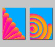 Set fantastical bright covers. Trendy dynamic 3d forms. Vector illustration stock illustration