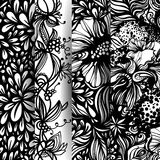 Set of fantasy abstract floral patterns. Royalty Free Stock Photos