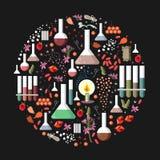 Set of fantasy alchemy elements on black background. Stock Image
