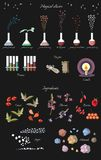Set of fantasy alchemy elements: magical elixirs and ingredients Royalty Free Stock Photos