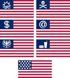 Set of fantasy american flags Stock Photo