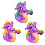 Set of fantasy animals purple color isolated on white background. Cartoon sea dragon. Vector illustration. vector illustration